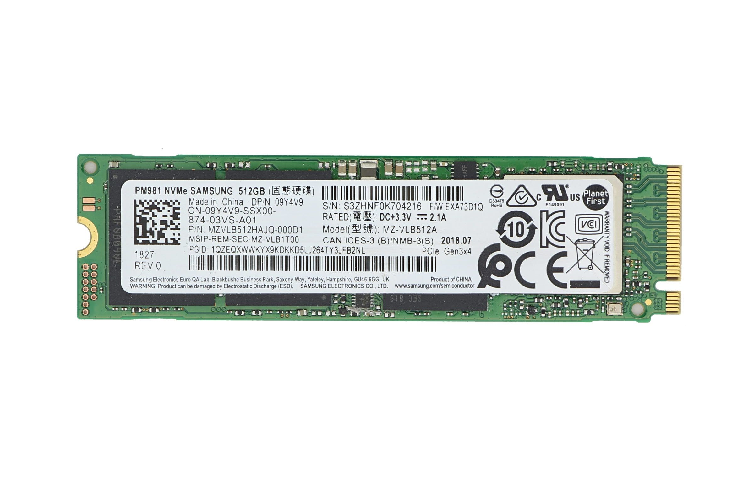 Dell 512GB M 2 NVMe PCIe Solid State Drive SSD 9Y4V9