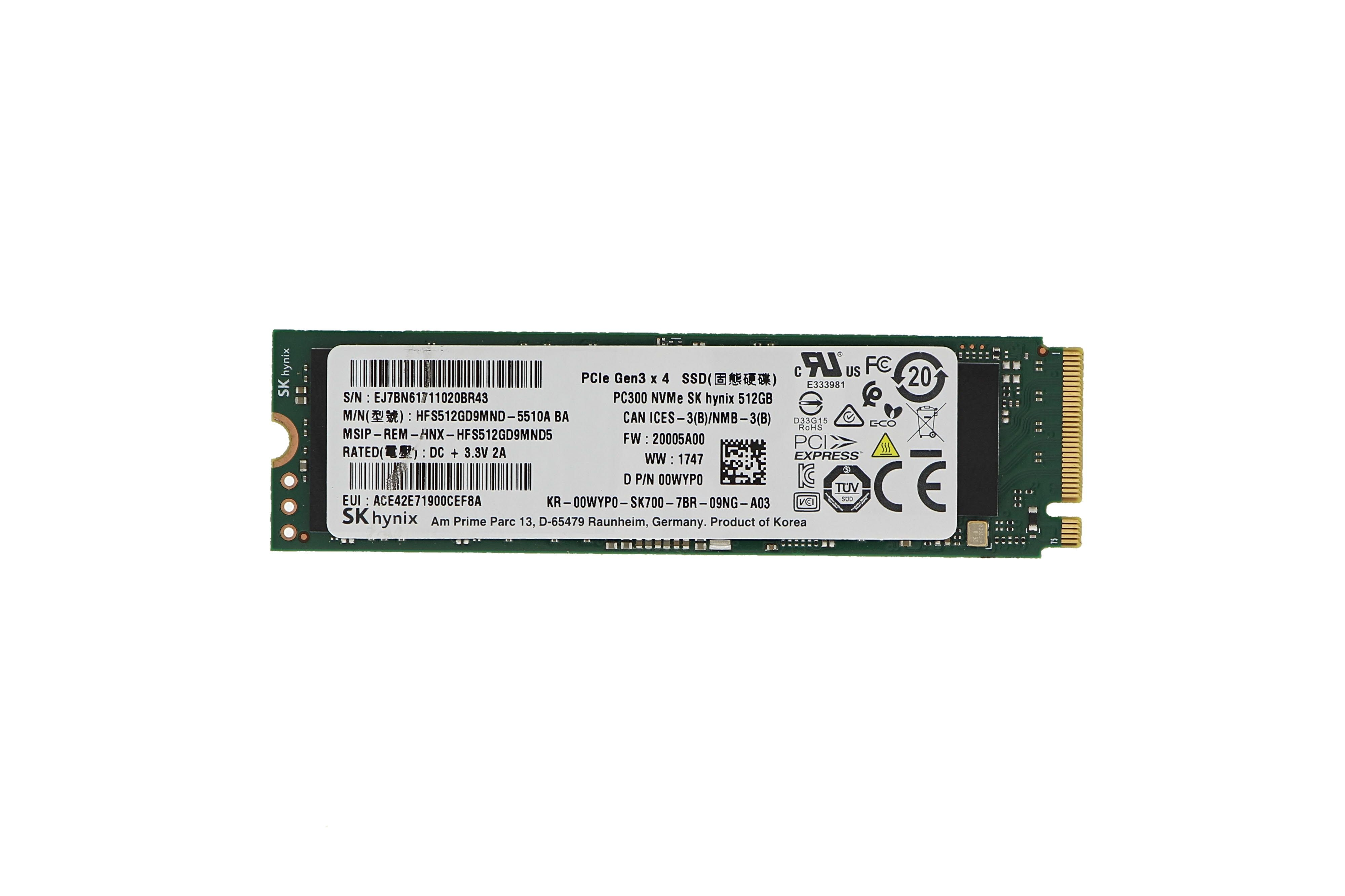 Dell 512GB M 2 NVMe PCIe Solid State Drive SSD 0WYP0
