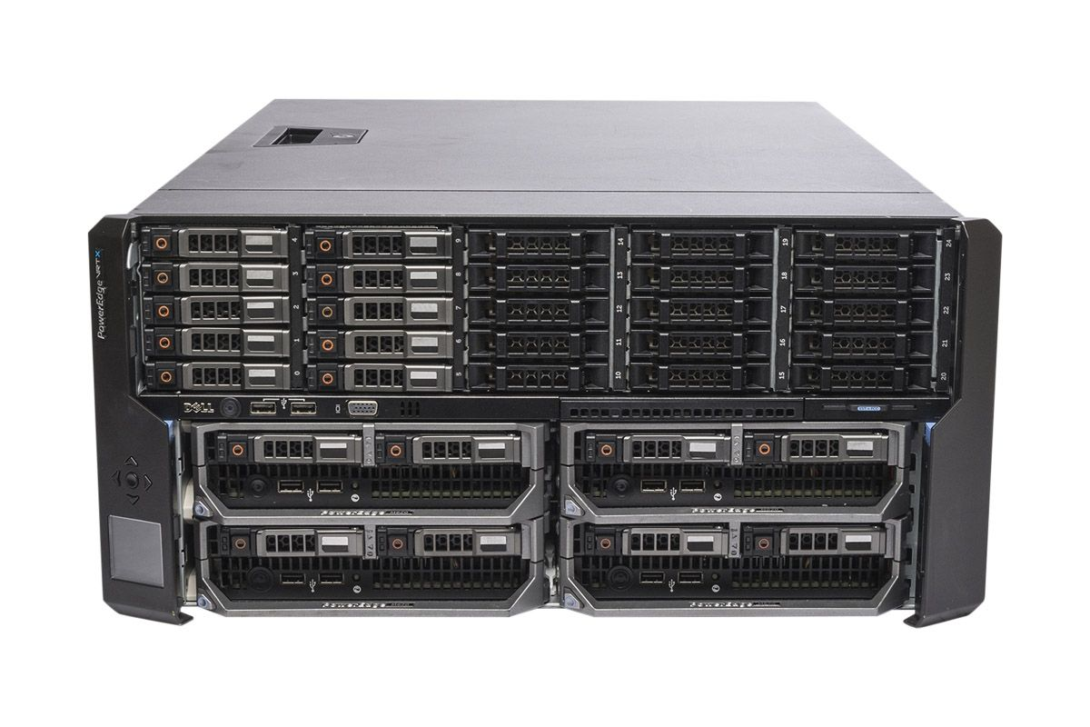 Dell PowerEdge VRTX Rack 1x25, 10 x 1TB SAS, 4 x M620P, 2 x E5-2630L  Six-Core 2 0GHz, 16GB, H310, iDRAC7 Ent